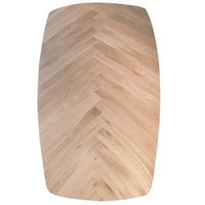 visgraat tafelblad tonvormig